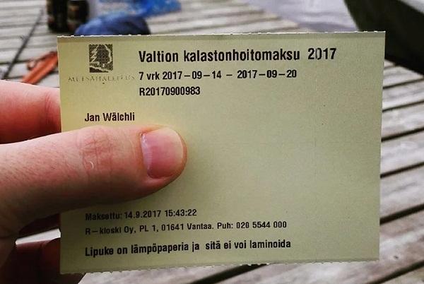 Лицензия на ловлю рыбы в Финляндии как выглядит