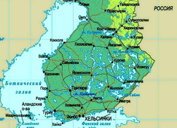 Пори на карте Финляндии